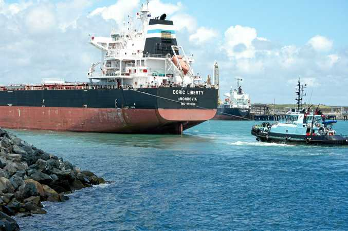 The ship Doric Liberty pictured in the Port of Mackay.
