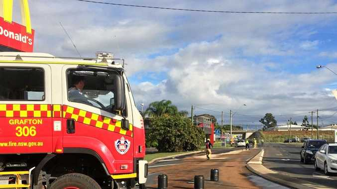 Emergency services attend suspected oil spill in Spring St, South Grafton just after 8am on Friday, 21st April, 2017.