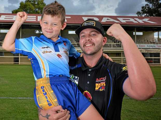 READY TO PLAY: Oscar Garrett and Brad Jennings both Gympie Devils players excited about playing at Albert park.