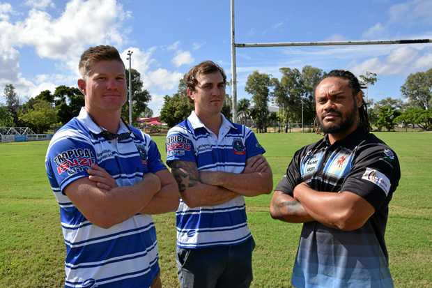 Brothers lock Cooper Nobbs, fullback Mitch Power with Norths Chargers hooker Lance Kuveu.