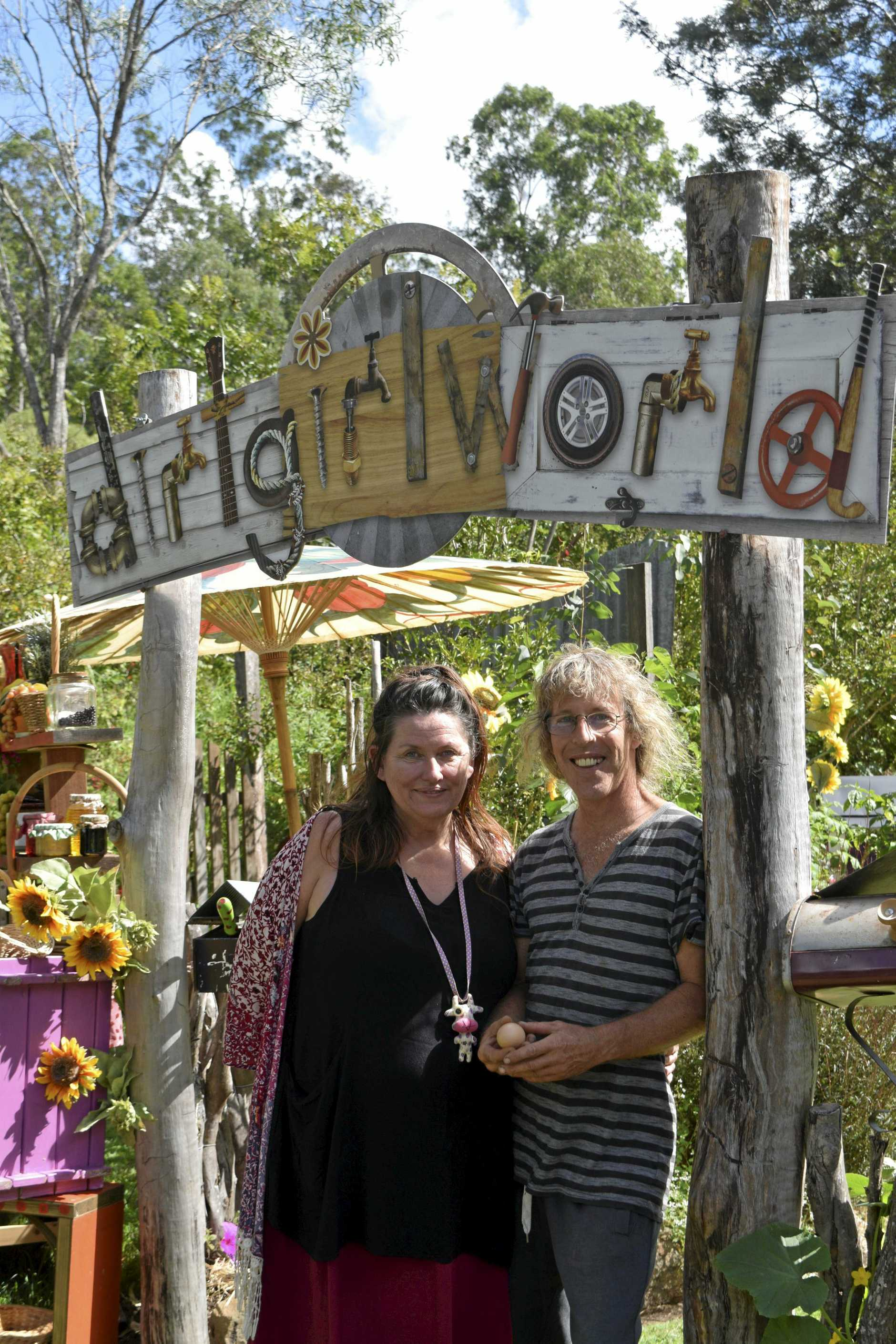 Dirtgirl creators Cate McQuillen and Hewey Eustace in the famous garden which will now star in its own live action television series on the ABC.
