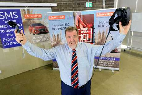 Ipswich Deputy Mayor Paul Tully test drives the new Hyundai i30 via virtual reality.