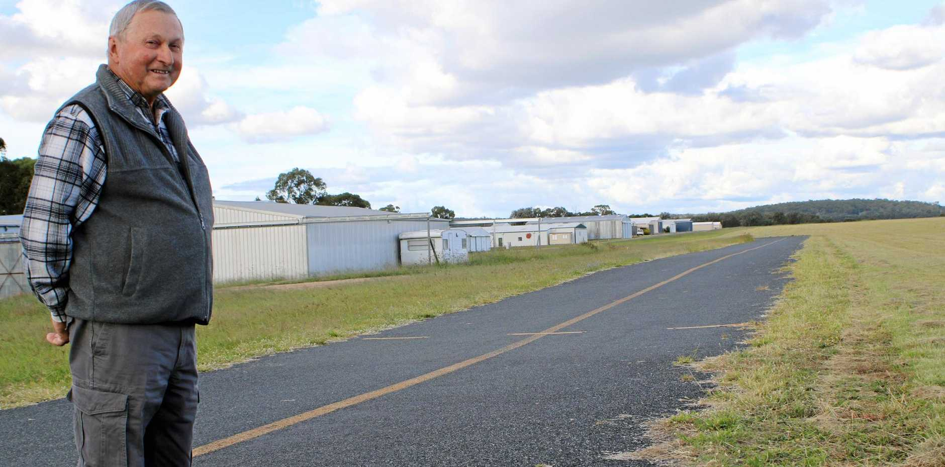 LIFT OFF: Long-time member of the Warwick Gliding Club Bill Wilkinson says conversations are continuing with Southern Downs Regional Council about the need for a new taxiway.