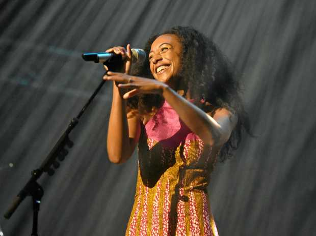 WINNING SMILE: Corinne Bailey Rae performing in the Mojo Tent at Bluesfest.