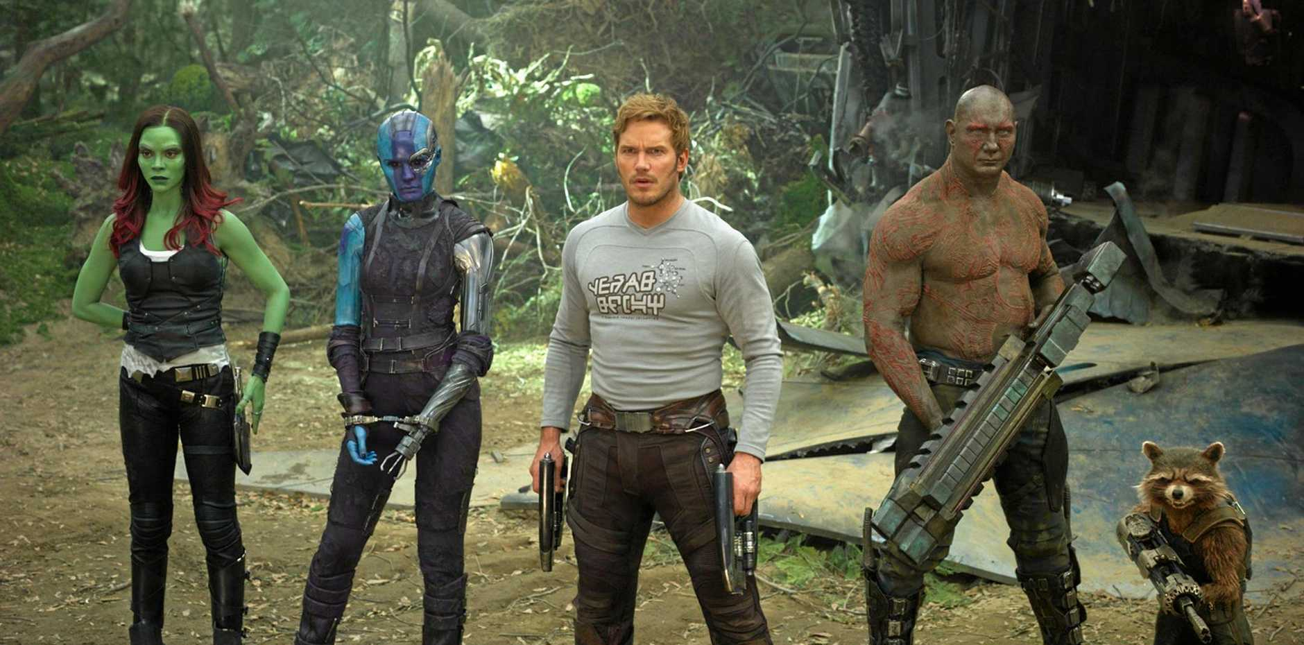 FOR REVIEW AND PREVIEW PURPOSES ONLY. From left, Zoe Saldana, Karen Gillan, Chris Pratt, Dave Bautista and Rocket (voiced by Bradley Cooper) in a scene from the movie Guardians of The Galaxy Vol 2. Supplied by Marvel.