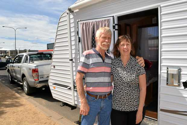 ON THE ROAD: Gary and Leigh Pearson of Caboolture love Warwick, but agree the CBD is not ideal for RVs and caravans.