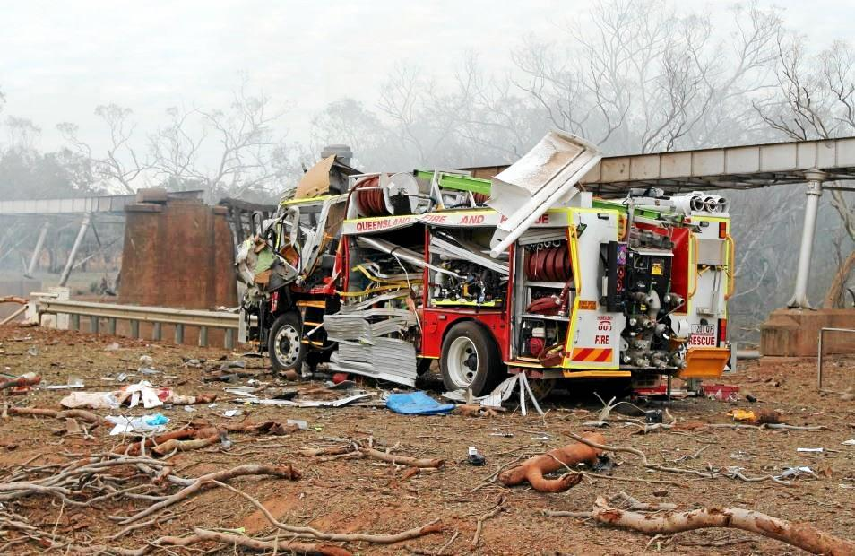 A badly damaged fire truck at the scene of the explosion 30km south-west of Charleville.