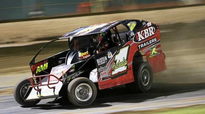 MAN TO CATCH: Brisbane's Kevin Britten, who won the V8 Dirt Modified Australian Title at Rockhampton, will defend his Queensland crown tonight.