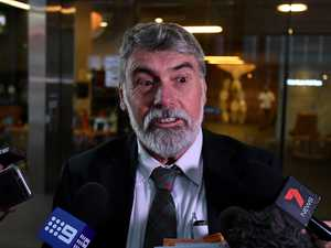 Moreton Bay Council Mayor Allan Sutherland talks to the media as he leaves a hearing at the Crime and Corruption Commission (CCC) in Brisbane, Friday, April 21, 2017. Mr Sutherland gave evidence in an investigation into conduct of candidates involved in the 2016 local government elections for the Gold Coast City Council, Moreton Bay Regional Council and Ipswich City Council. (AAP Image/Dan
