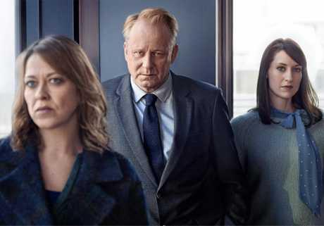Nicola Walker as Jackie Stevenson, Stellan Skarsgård as John River and Georgina Rich as Rosa Fallows in a scene from television show, River.
