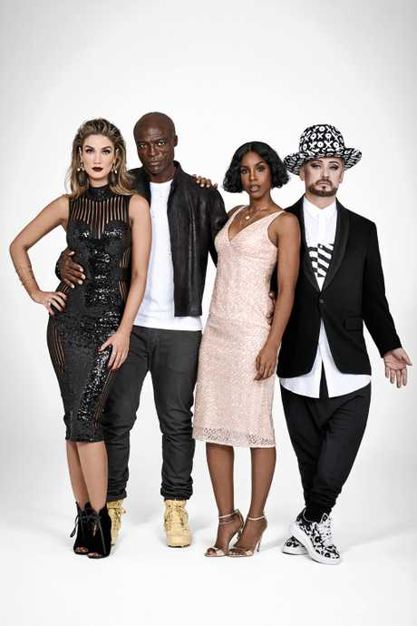 The Voice coaches for 2017, from left, Delta Goodrem, Seal, Kelly Rowlands and Boy George.