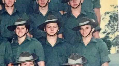 Peter Southern pictured with the Maryborough Army Corp in 1987. Mr Southern is on the right end of the second row.