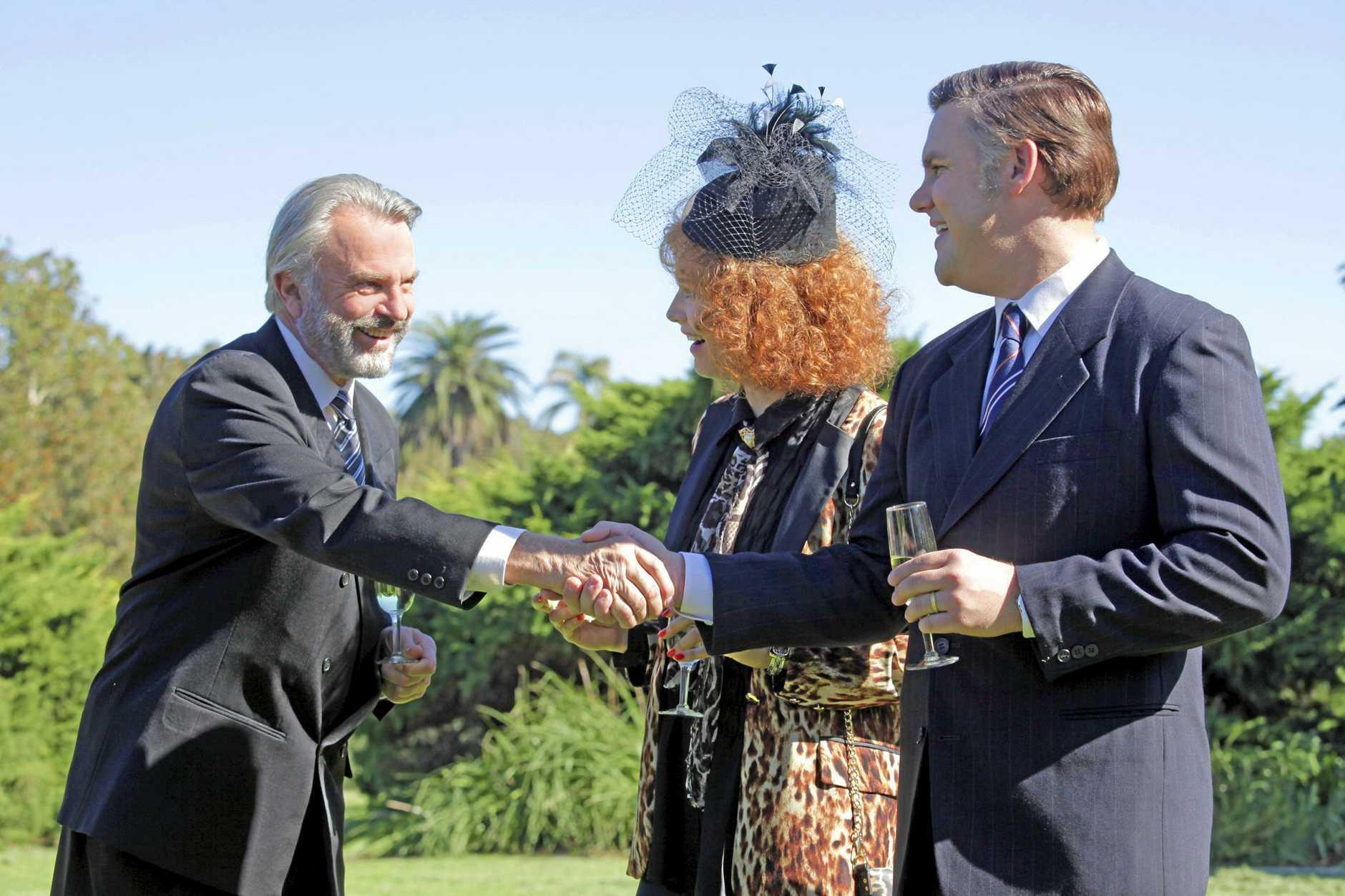 Sam Neill as Tiny Rowland, Adrienne Pickering as Eileen Bond and Ben Mingay as Alan Bond.