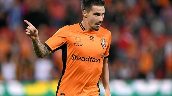 Roar player Jamie Maclaren celebrates after scoring a goal during the A-League Elimination Final match between the Brisbane Roar and the Western Sydney Wanderers at Suncorp Stadium in Brisbane, Friday, April 21, 2017. (AAP Image/Dave Hunt) NO ARCHIVING, EDITORIAL USE ONLY