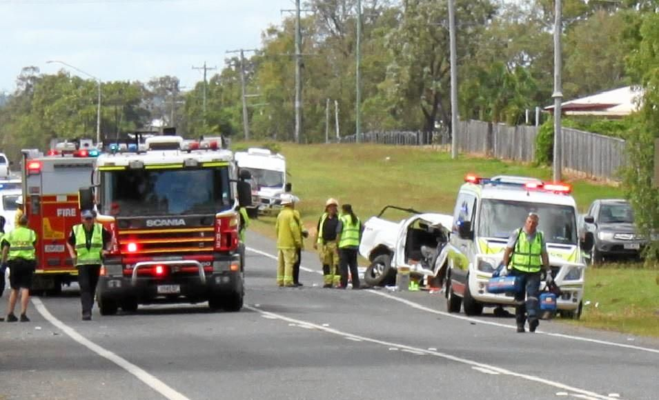 The suspected two vehicle crash on the Gavial Gracemere Rd, just after Broadhurst St.