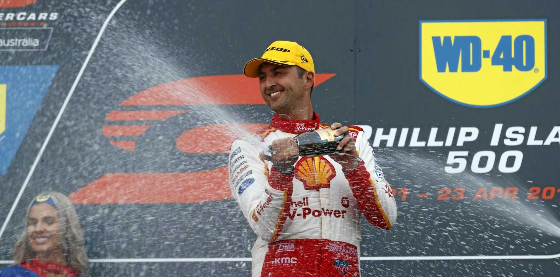 Fabian Coulthard of DJR Team Penske after winning a race at the Phillip Island 500.