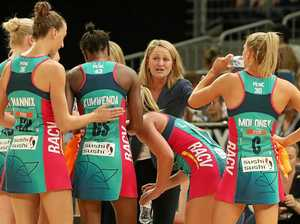 Vixens head coach Simone McKinnis speaks to her players.