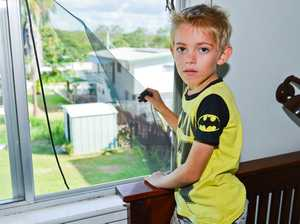 6-year-old Garnet Sharpley is very lucky to not be too badly hurt after falling from an upstairs window.