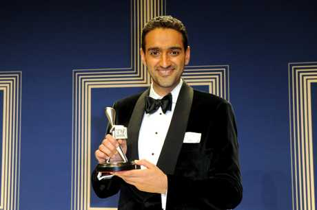 Waleed Aly, with the Silver Logie for Best Presenter, in Network Ten's The Project.