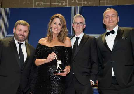 The crew from the Sky News Election Coverage2016 with their Silver Logie for the Most Outstanding News Coverage during the 2017 Logie Awards at the Crown Casino in Melbourne, Sunday, May 8, 2016. (AAP Image/Tracey Nearmy) NO ARCHIVING