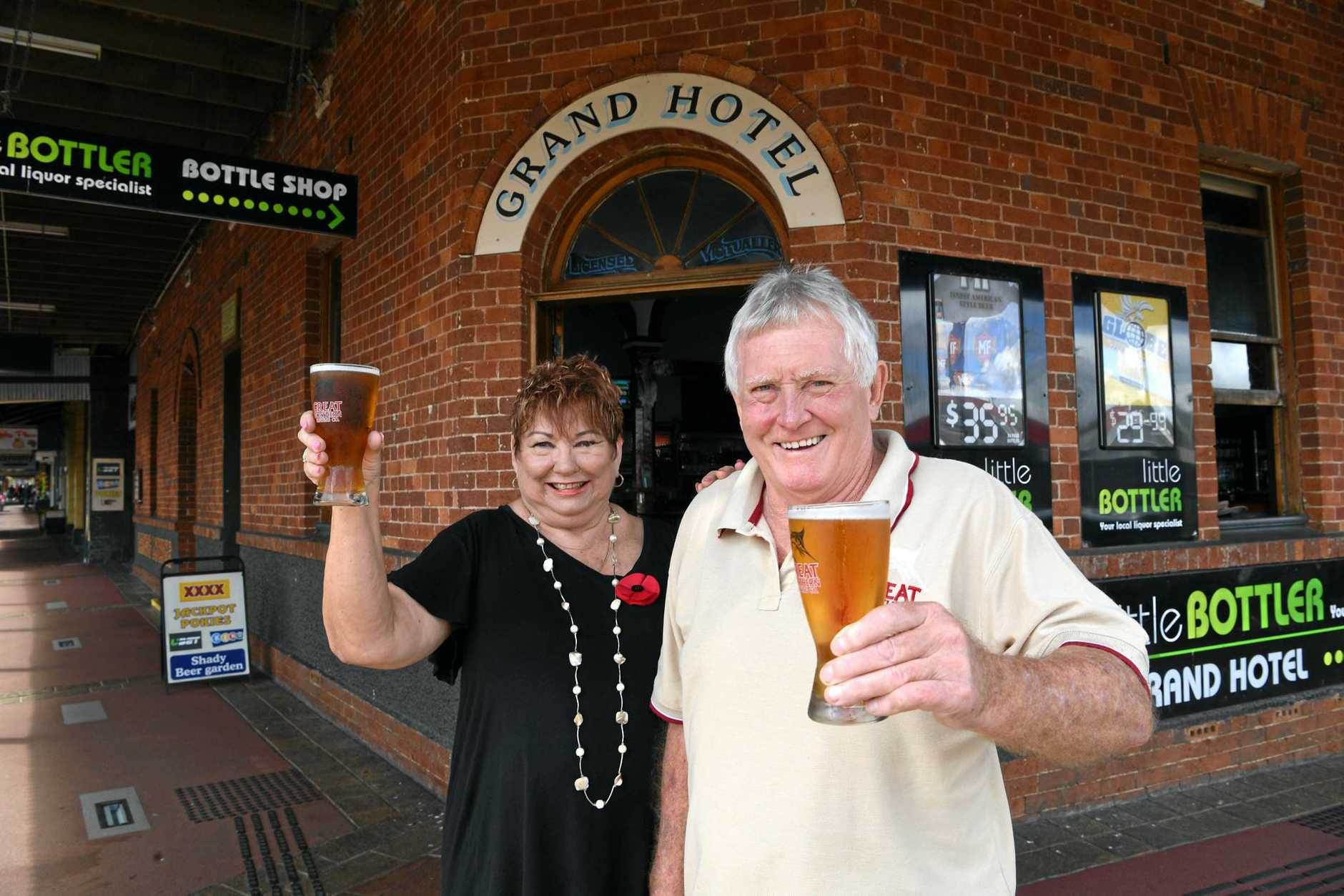 FREE BEER: Pam and Dennis Corliss from the Grand Hotel in Childers will be offering a free schooner of beer to ex-servicemen and women and currently enlisted members of the Australian armed forces entering their premises and who are wearing their medals on Anzac Day.