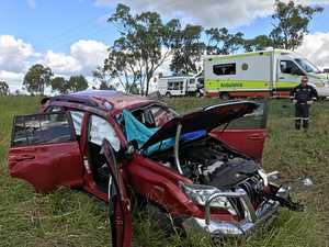Woman airlifted to Rockhampton Hospital after car mangled