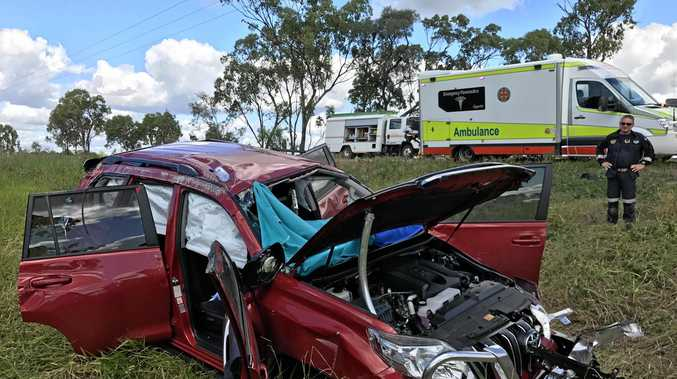 A woman was extricated from this car north of Marlborough on the Bruce Hwy with suspected internal and spinal injuries.