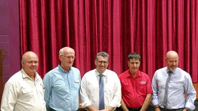 Cr Denis Chapman, mayor Chris Loft, member for Hinkler Keith Pitt, Maryborough MP Bruce Saunders and Cr Darren Everard at the Howard Community Forum on Friday night.