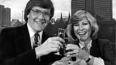 Co-hosts Gordon Elliot and Kerri-Anne Wright (Kerri-Anne Kennerley) from the Sydney-based on the Good Morning Australia set in 1982.