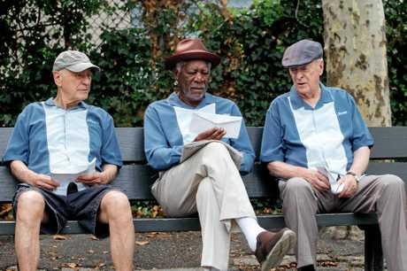 Alan Arkin, Morgan Freeman and Michael Caine in a scene from Going in Style.