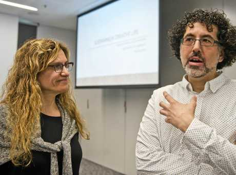 Sharon Louden and Hrag Vartanian, speakers at The Artist As Culture Producer at Toowoomba City Library.  Saturday Apr 22, 2017.