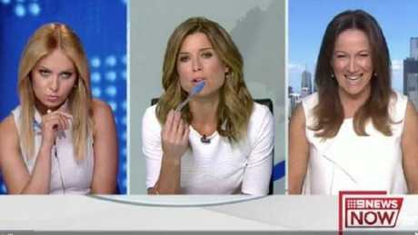 The three women were all dressed in white right before going to air.