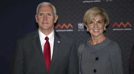 U.S. Vice President Mike Pence, left, and Australian Foreign Minister Julie Bishop pose for a photo during a visit to the Australian Museum in Sydney, Saturday, April 22, 2017.