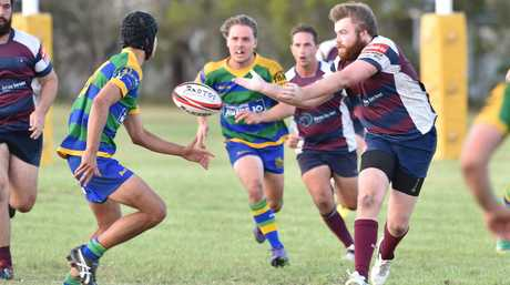 Rugby union - Mariners V. Maleny. Mariners second rower Jasper Brigden gets a pass away.