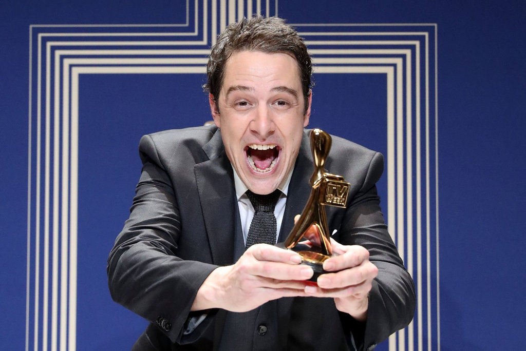 Samuel Johnson poses with the Gold Logie Award for Best Personality On Australian TV during the 59th Annual Logie Awards at Crown Palladium.