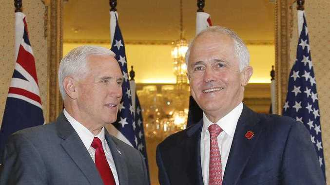 U.S. Vice President Mike Pence (L) meets with Australia's Prime Minister Malcolm Turnbull at Admiralty House in Sydney, Saturday, April 22, 2017. Vice President Pence is embarking on the Trump administration's first visit to the Asia-Pacific region.