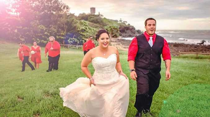 TIE THE KNOT: The Noton's wed at the Shamrock Hotel, they had to move from their original location due to Cyclone Debbie.