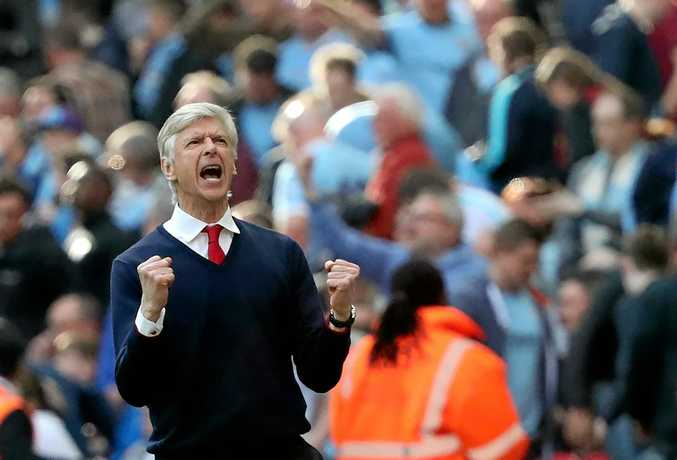 Arsenal manager Arsene Wenger celebrates the FA Cup semi-final win over Manchester City.