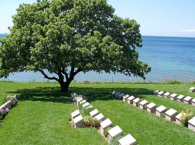 Gravestones are a reminder of Anzac Cove's tragic history.