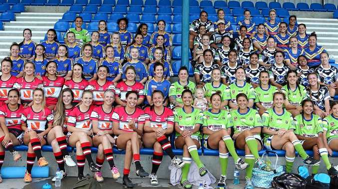 KICKING OFF: The women's team that took part in the rugby league gala day at Lismore on Saturday.