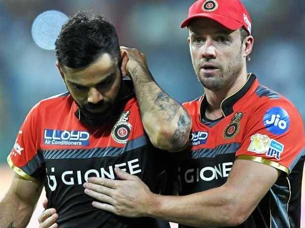 Cricket superstars Virat Kohli and AB de Villiers. Source:AFP
