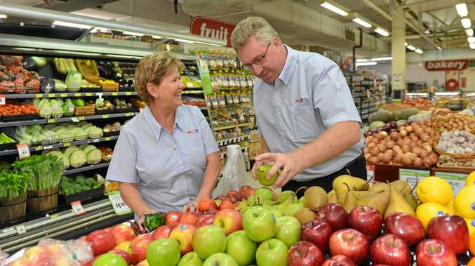 Alison and Nick Habgood have had a $20,000 a week drop in sales at its West Mackay shop after the dividing strip was added to Bridge Rd.