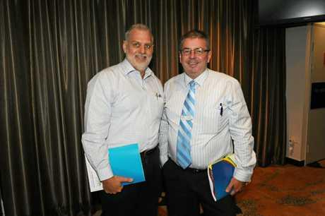 Craig Mathisen (left) pictured with Ross Sommerfeld at a Bundy for Breakfast function at the Bundaberg RSL.