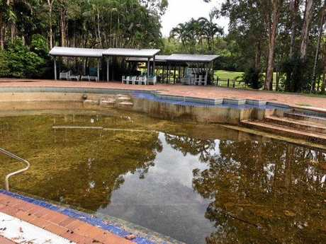 The swimming pool has been green at Palmer Coolum Resort.