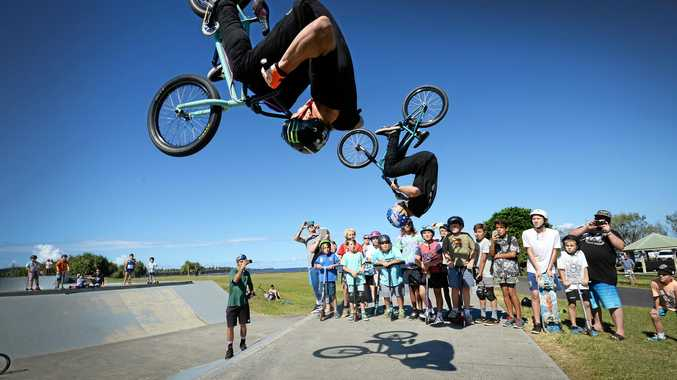 TALENTED RIDERS: Nitro Circus Live athletes Andy Buckwork and Todd Meyn during their display at Ballina Skatepark.