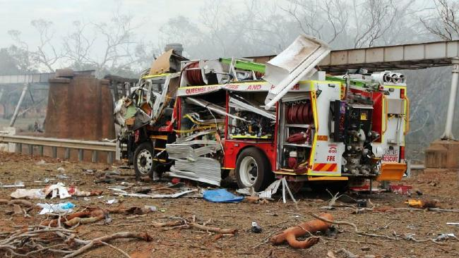 What is left of a fire truck that was on scene at the massive Charleville explosion.
