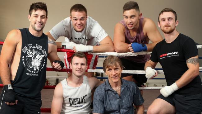 Jeff Horn (front in singlet) with trainer Glenn Rushton and his team, L to R Sam Banney, Joe Goodall, Zach Bacigalupo and Dennis Hogan.