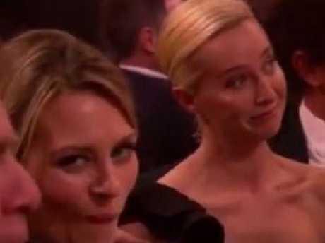 Kat Stewart and Asher Keddie react to Hughesy's Worner gag.
