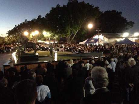 Thousands gather at Freedom Park in Hervey Bay for the dawn service.
