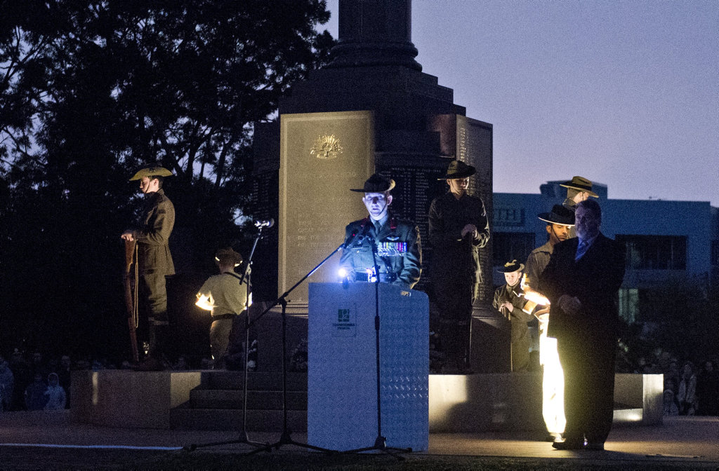 Colonel James Brown presents the Call to Remembrance during the Dawn Service at the Mothers' Memorial.